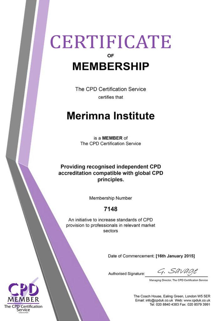 Membership Certificate CPD MErimna Institute